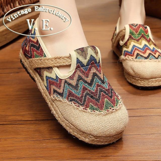 Vintage Embroidery Women Flats Shoes Thailand Boho Rainbow Stripes Harajuku National Hemp Bottom Loafers Flat Sapato Feminino