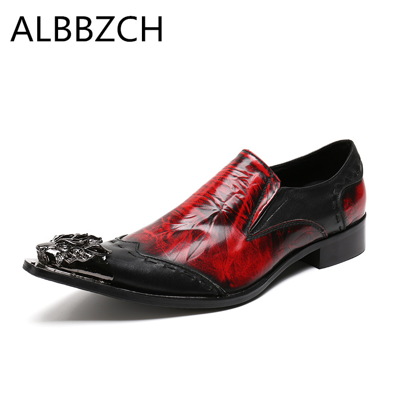 New mens fashion red patchwork genuine leather wedding shoes men loafers pointed toe slip on luxury brand design dress shoes 46New mens fashion red patchwork genuine leather wedding shoes men loafers pointed toe slip on luxury brand design dress shoes 46