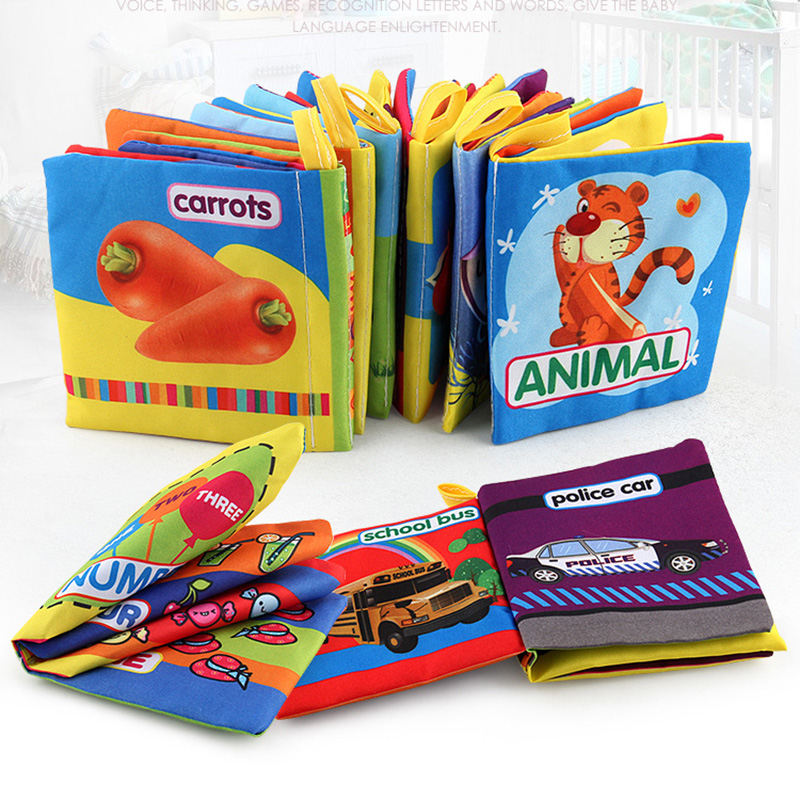 Baby Intelligence Development Cloth Book Soft Rattles Baby Kids Bed Cognize Activity Book Educational Toy Cute Cartoon Book