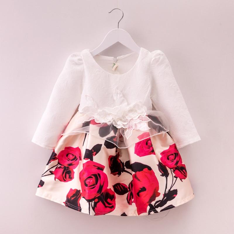 Bongawan 2018 Fall&Winter Long Sleeve Floral Print Girls Dress for Birthday Party Baby Toddler Girl Dresses 4T-10T bongawan 2018 new autumn