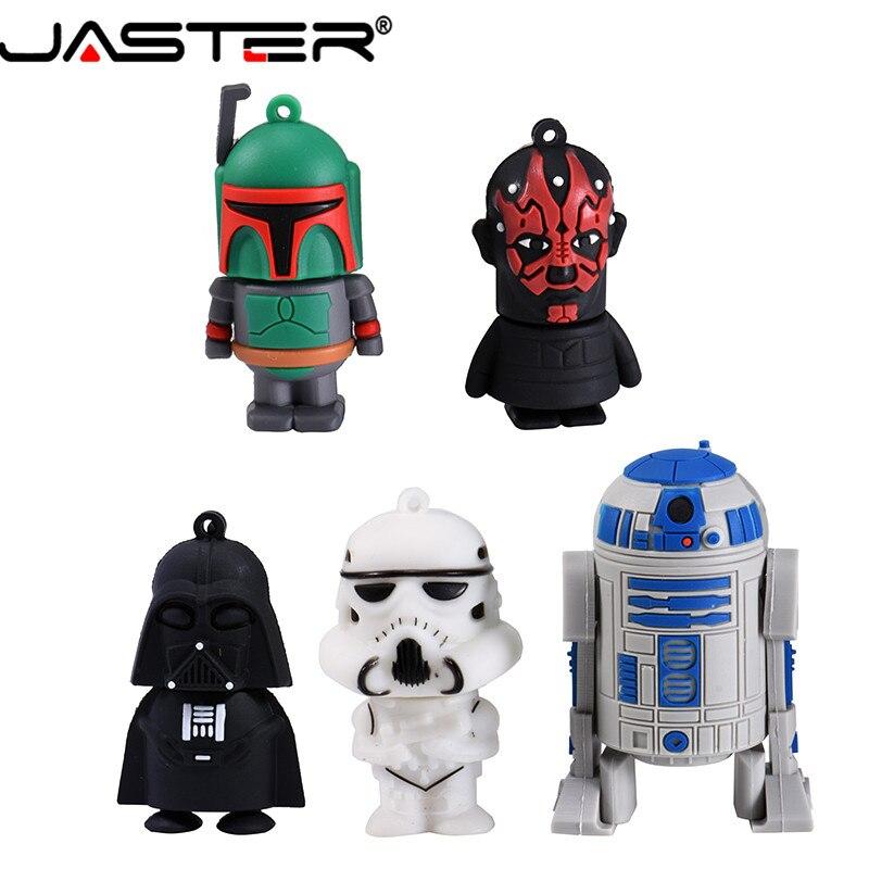 JASTER Usb 2.0 Cartoon Pendrive Star Wars Yoda/Darth Vader Usb Flash Drive 4GB 64GB 16GB 32GB Memoria Usb Gifts Clef Chiavetta-in USB Flash Drives from Computer & Office
