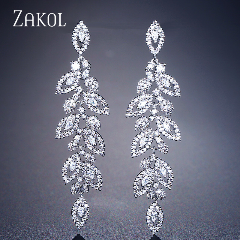 ZAKOL Fashion Korean CZ Leaf Wedding Jewelry Marquise AAA Cubic Zirconia Long Drop Bridal Earrings For Elegant Women FSEP2144 colorful cubic zirconia hoop earring fashion jewelry for women multi color stone aaa cz circle hoop earrings for party jewelry