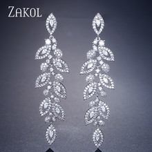 ZAKOL Fashion Korean CZ Leaf Wedding Jewelry Marquise AAA Cubic Zirconia Long Drop Bridal