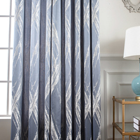 custom curtain nordic cloth window shading Flocking geometry Jacquard cotton blue livingroom bedroom blackout curtain M646