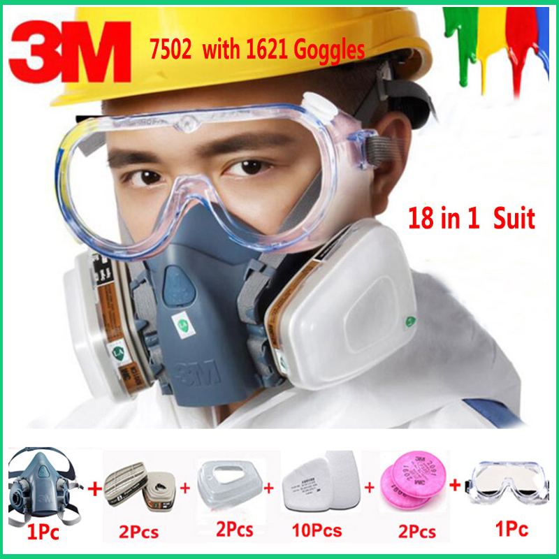 18 in 1 <font><b>3M</b></font> 7502 Half Face Safety Respirator Gas Mask With <font><b>3M</b></font> 1621 Goggles Painting Spraying Industry Anti Dust Mask image