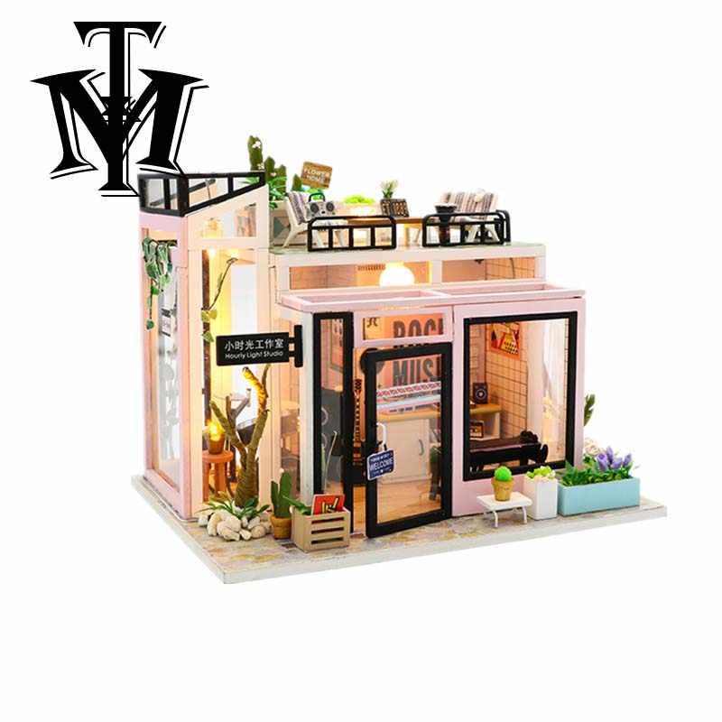 Ручной работы романтический кофе DIY дом игрушки кукольный домик микро пейзаж мебель куклы дом модель Собранный мальчик девочка подарки на день рождения