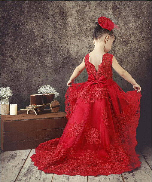 Vintage little princess girl red gown with long train high low baby birthday party dress with lace appliques kid Christmas oufit платье united colors of benetton united colors of benetton un012ewpid61