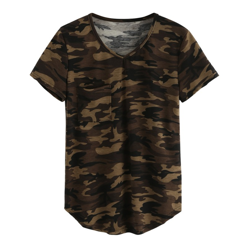 2017 Casual V-neck Camouflage Military Camo T Shirt Women Short Sleeve T-shirt Ladies Tops Tee
