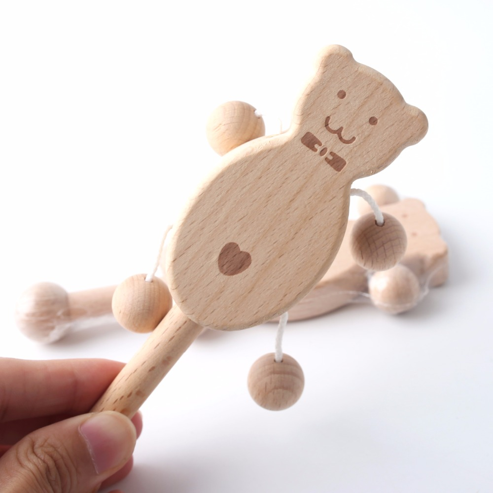 1Pc Beech Wooden Rattle Teethers Baby Chew Toys Baby Products Food Grade Wood Handmade Baby Rattles DIY Accessories Baby Toys in Baby Rattles Mobiles from Toys Hobbies