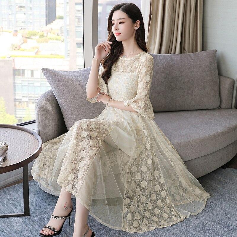 Été 2018 nouvelle mode à manches courtes dentelle robe femmes porter col rond net fil