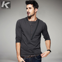 2017 Spring Mens Fashion T Shirts Dark Gray Patchwork Button Brand Clothing Long Sleeve For Man