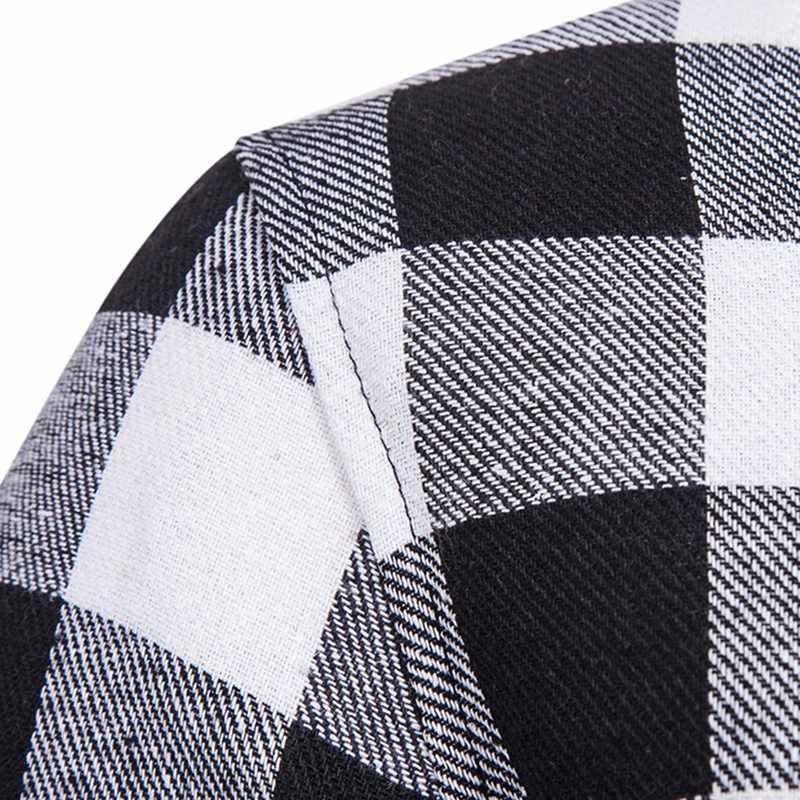 LAAMEI 新ヒップホップ格子縞のシャツの男性ハイストリートファッションカジュアルシャツトレーナー原宿ルース延縄フード付きシュミーズ