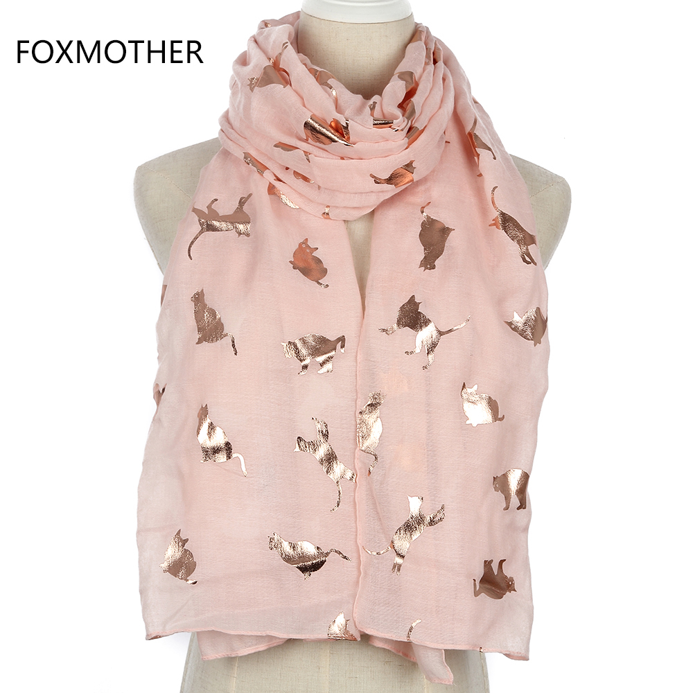 FOXMOTHER New Design Fashion Shiny Pink Grey Navy Color Foil Gold Metallic Cat Scarf Wrap Shawl Foulard Ladies Mother Gifts