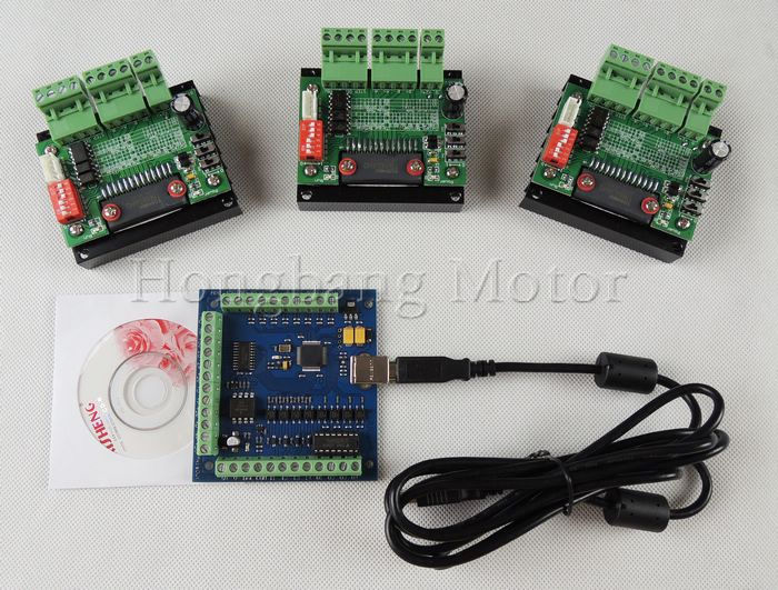 CNC Router mach3 USB 3 Axis Kit, 3pcs TB6560 1 Axis Driver Board + one mach3 4 Axis USB CNC Stepper Motor Controller card 100KHz cnc router kit 4 axis 4pcs 1 axis tb6560