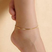 Women Golden Tone Elbow Pipe Chain Anklet Bracelet Barefoot Sandal Foot Jewelry  6TVH