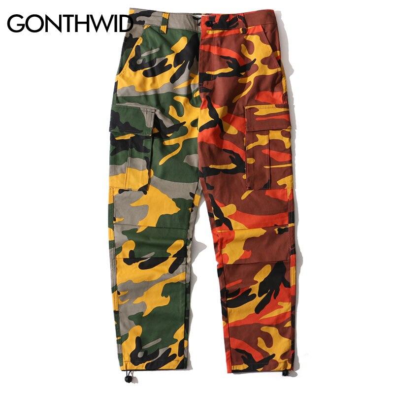2019 Deux Tone Camo Pantalon Hommes Hip Hop Patchwork Camouflage Militaire Pantalon Cargo Hommes Occasionnels Coton Multi Poches Pantalon streetwear