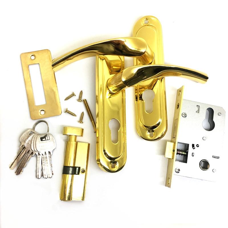 THOM KING Modern Gold Handles Design Solid Split Handle Lockset Privacy Brush Gold Lever Handle Interior Door Lock 1set/lot
