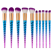 New Unicorn Colorful 10Pcs Pro Makeup Brushes Set Contour Powder Eyeshadow Lip Blush Foundation Powder Kabuki Brush Set Spiral