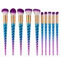 Novo Unicórnio Colorido 10 Pcs Pro Makeup Brushes Set Pó Contour Eyeshadow Lip Blush Em Pó Foundation Kabuki Jogo de Escova Em Espiral