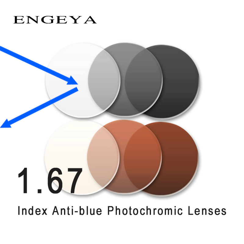 Lentilles photochromiques anti-bleues à indice 1.67 lentilles asphériques pour myopie hyperopie lentilles de Prescription UV400