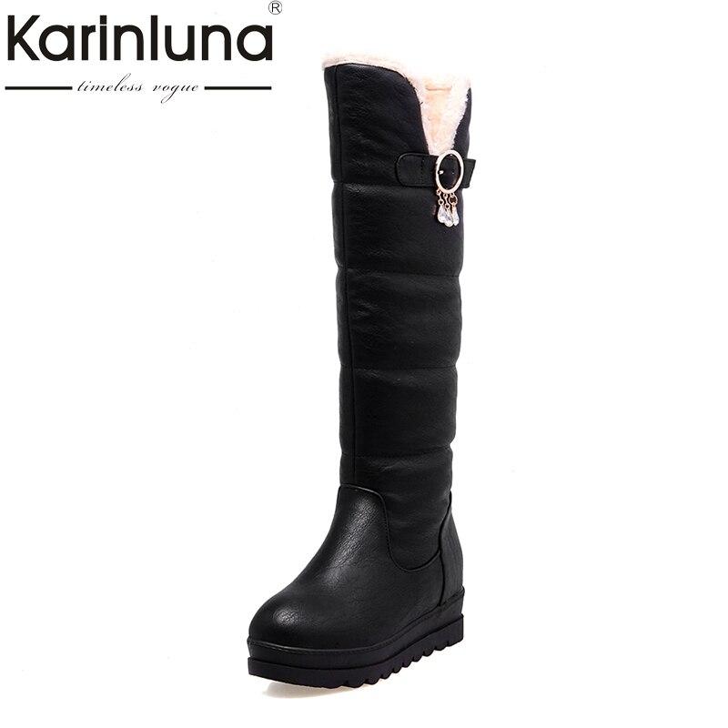 где купить KARINLUNA 2017 Large Size 33-44 Black White Women Shoes Casual Platform Add Warm Fur Long Plush Winter Snow Boots Waterproof по лучшей цене