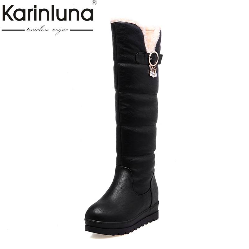 KARINLUNA 2017 Large Size 33-44 Black White Women Shoes Casual Platform Add Warm Fur Long Plush Winter Snow Boots Waterproof