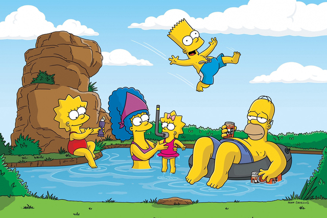 The Simpsons Summer Vacation Cartoon Poster High Quality Picture Print Home Decoration Cloth Silk Wall Art