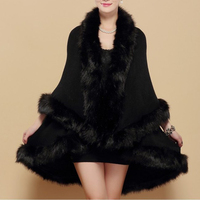 Women Faux Fur Collar Cape Shawl Long Cardigan Sweater Luxury Knitted Sweater Autumn Winter Capes And