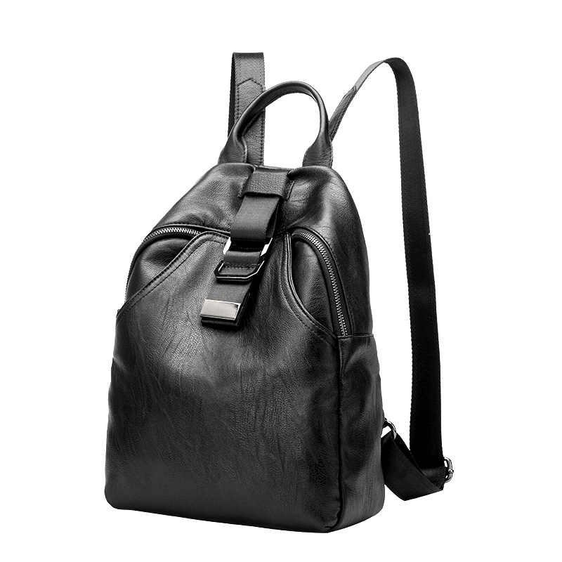 Nova chegada mochila feminina de couro genuíno sacos designer casual real couro portátil mochila feminina sólida trave saco n041