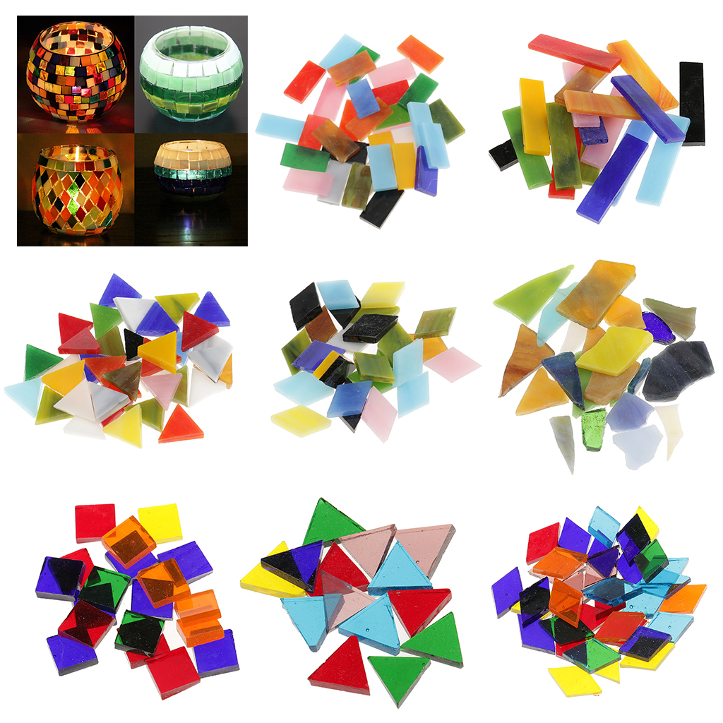 Mosaic glass tile for crafts - 70 150pcs 200g Pack Irregular Square Triangle Rhombus Shape Glass Mosaic Tiles For Arts Diy Crafts Supplies Gift Home Decoration
