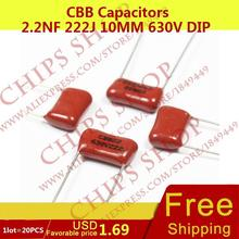 1LOT 20PCS CBB Capacitors 2 2nF 222J 10MM 630V DIP 2200pF
