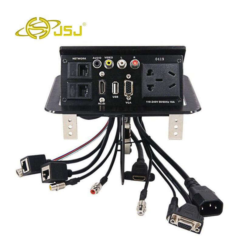 JSJ multifonction pneumatique pop-up bureau prise HDMI + VGA + 3.5 audio + AV multimédia information prise ligne bureau boîte
