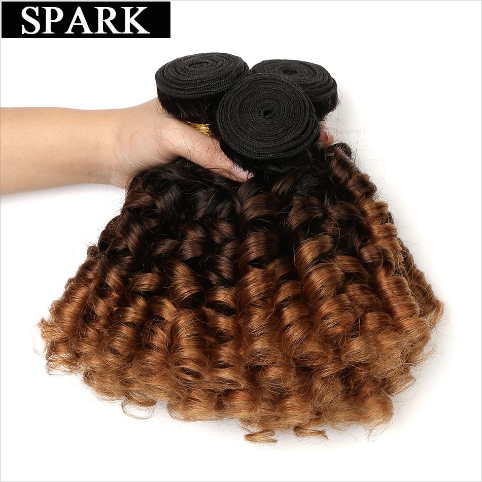 Spark Ombre Brazīlijas bouncy Curly Weave cilvēka matu 3 komplekti - Cilvēka mati (melnā krāsā)