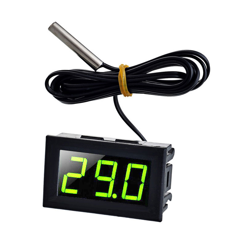 Yellow Green Light DC 5 - 12V 0.56 Tester Digital Thermometer Sensor -50-110 Celsius Temperature Gauge Green LED green led mini temperature meter dc 12v 24v digital thermometer 1m ds18b20 sensor