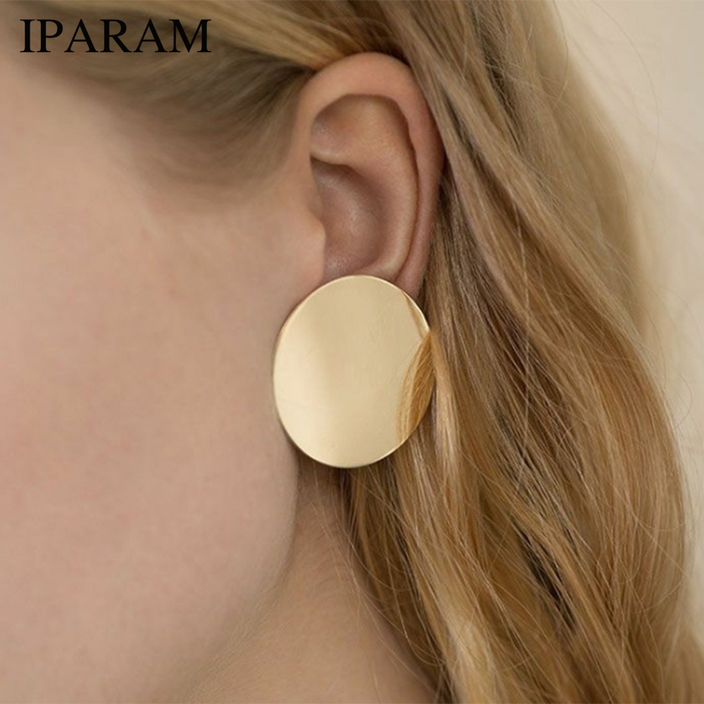 IPARAM 2018 NEW Gold Glossy Round Earrings Hoop Smooth Earrings Simple Style Ears Clear Circle Charm Earrings For Women