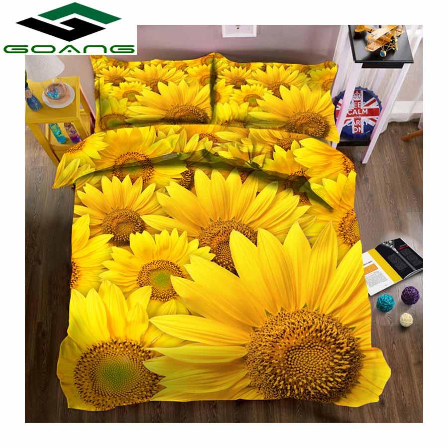 GOANG Bedding-Set Duvet-Cover Bed-Sheet Sunflower Home-Textiles Luxury Pillow-Case 3d