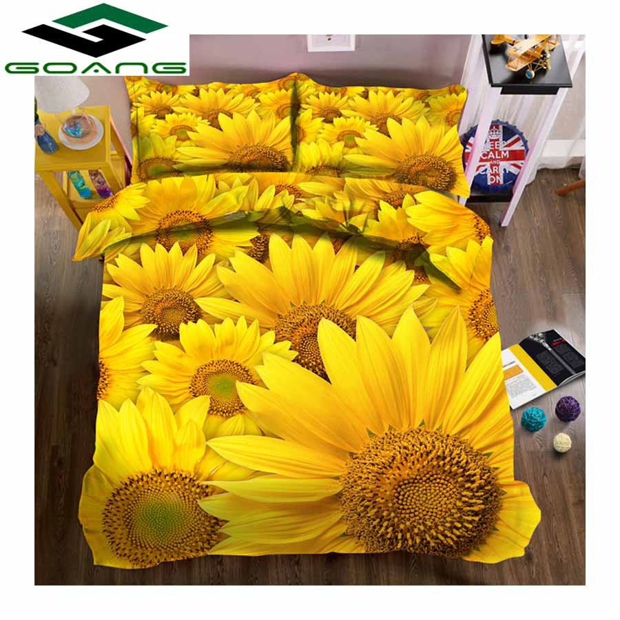GOANG King Size Bedding Set Bed Sheet Duvet Cover Pillow Case 3d Reactive Printing Sunflower Luxury Bedding Set Home Textiles