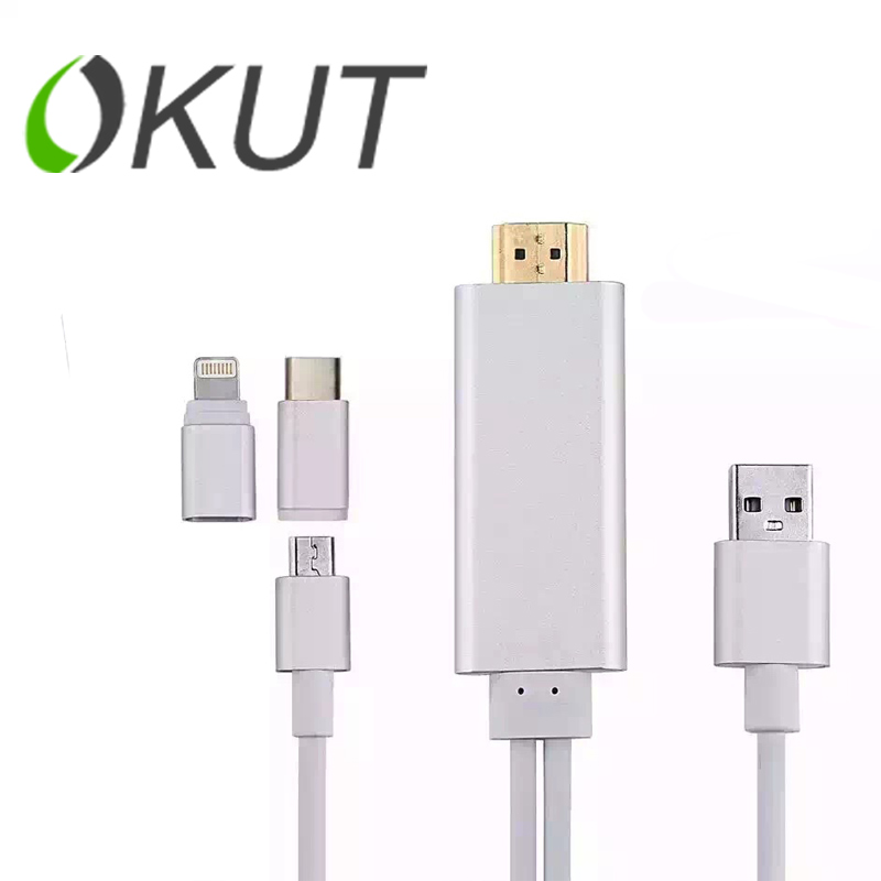 HIGH QUALITY 5 in 1 Multi functional Micro USB Lighting USB C HDMI Cable HD1080P HDTV