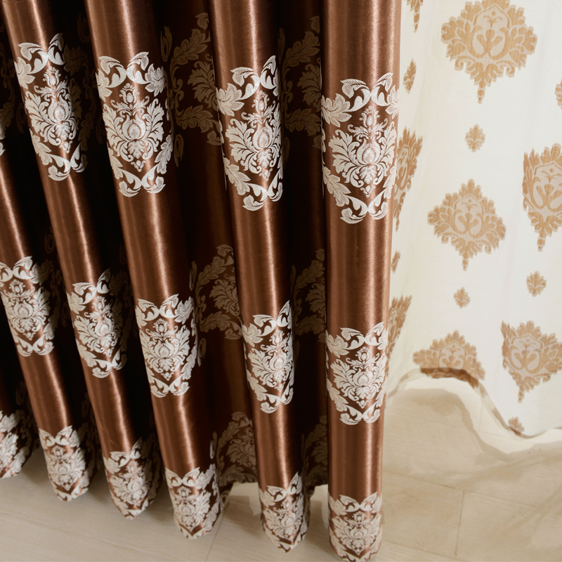 European Jacquard Curtains Window Shade Room Darkening Blinds Custom Dining CurtainsChina