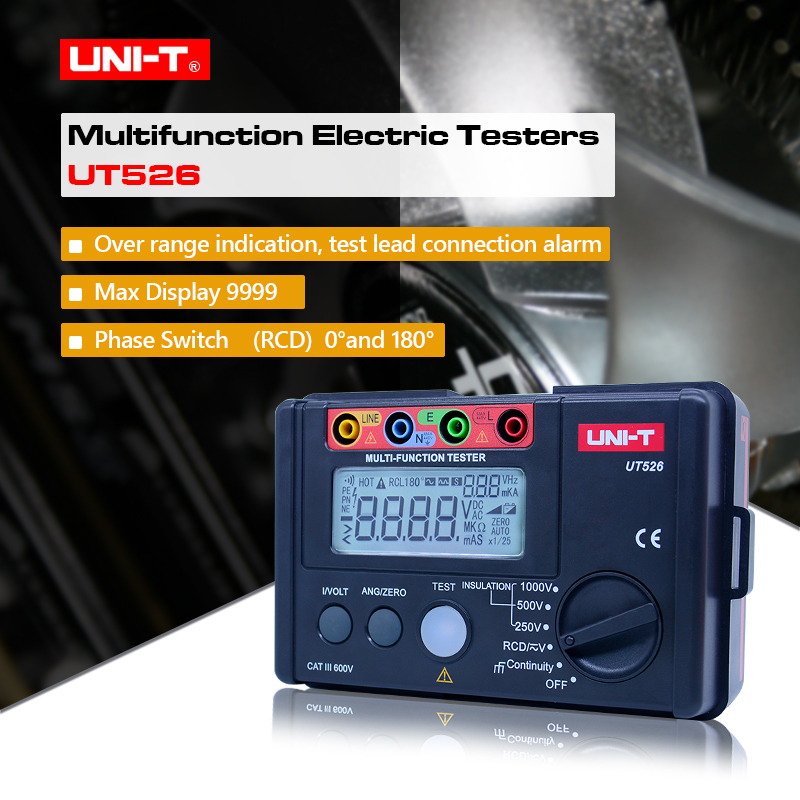 Insulation Resistance Testers Electrical Insulation Tester Earth Resistance Meter UNI-T UT526 + 1000V+RCD Test+Continuity+Vac/dc 2017 mastech ms5203 digital megger insulation tester resistance meter tecrep 10g 1000v ac dc voltage continuity electrical test