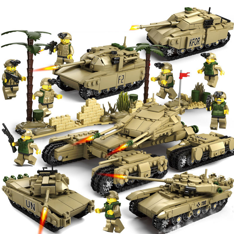 4 In 1 Tank Military Assembled Small Particles Building Blocks Children Educational Assembly Boy Toys Model Kit New Legoings E05