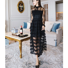 2018 A-Line Long Sleeves Dress Women See Through Sexy Black Dress Turtule  Neck Tea Length Ladies Dress Elegant Party Dress 284131fed3ea