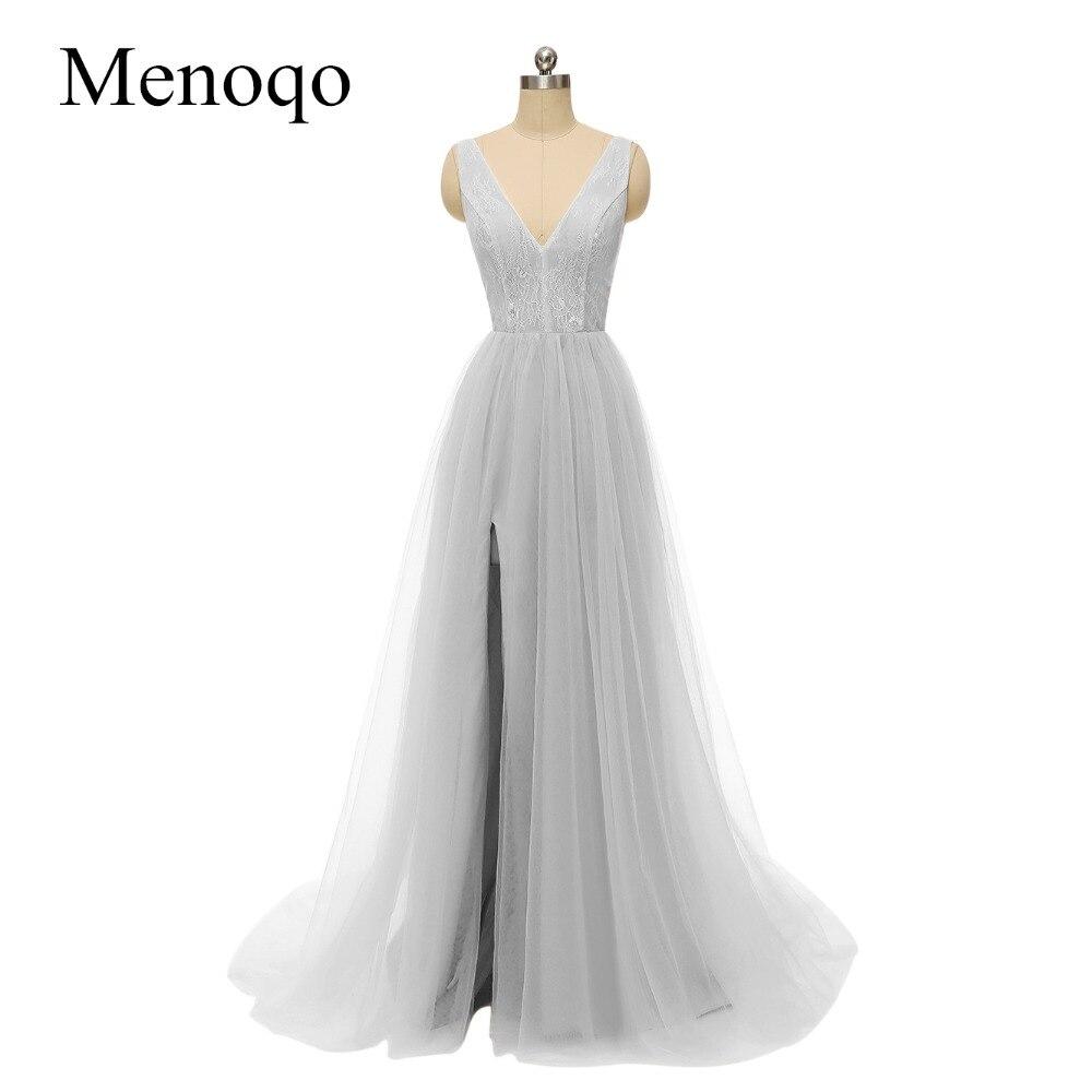 Robe De soirée dentelle Tulle Sexy dos nu longues robes De soirée mariée Banquet élégant étage-longueur fête Robe De bal côté haute fente
