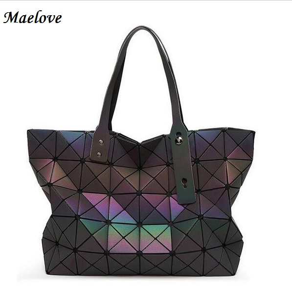 Maelove 2017 New Style Women-bag Torba geometry casual totes Hologram luminous bag logo wewnątrz laserowego srebra