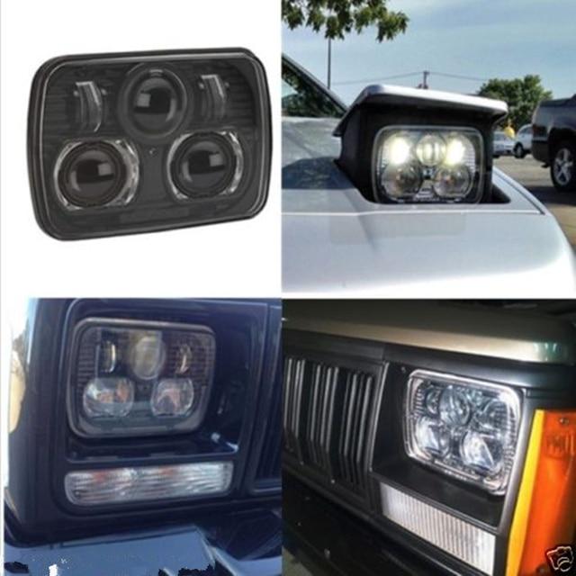 2 Pcs Black 5 X 7 Led Headlight Replacement For Jeep Cherokee Xj Trucks