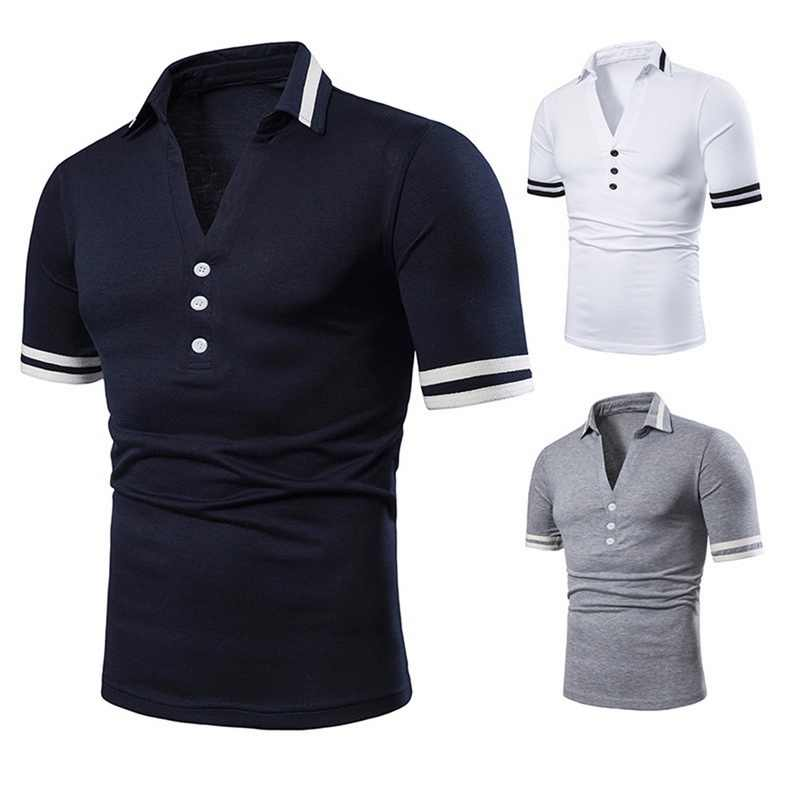 2019 New Men Polo Shirts Classic Striped  Button Deep V Neck Tops Solid Tops Polos Summer Short Sleeves Polos Hombre Slim Shirt