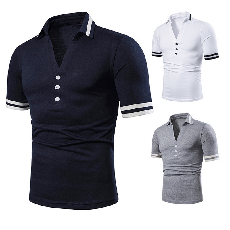 2019 New Men   Polo   Shirts Classic Design Summer Deep V neck Tops Solid Color Button Tops Summer Short Sleeves Clothes