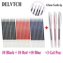 цена DELVTCH 0.5mm 30PCS Needle tip Gel Ink Pen Refill Rod & 3pcs Gel Pen Office School Student Signature Supplies Blue/Red/Black Ink онлайн в 2017 году