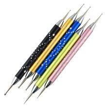 Дизайн 5 шт. 2-полосным верхняя основа мрамор акриловая ручка УФ гель-лаки для ногтей искусство пунктирная ручка, Кисть наборы инструментов для Для женщин и девочек