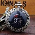 Черный Пиратский Череп бронзовый Винтаж карманные часы ожерелье Цепь Ретро Античная Кварц Часы Мужские Relogio Де Bolso